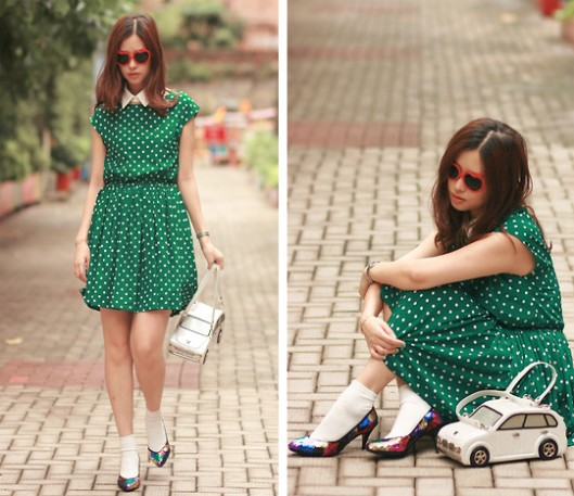 polka dots green dress